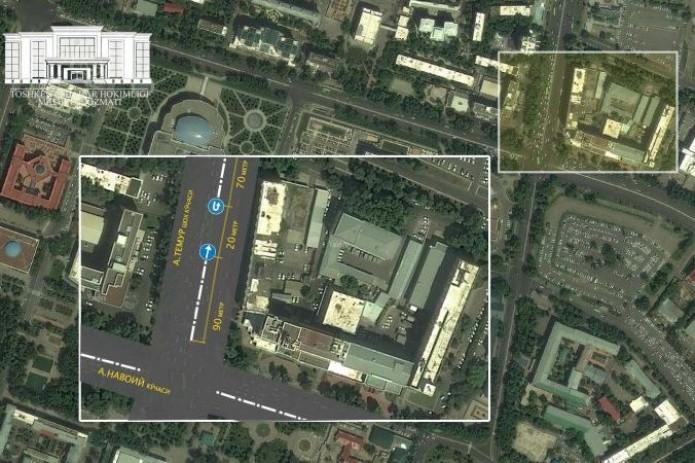 На улице Амира Темура открыт дополнительный разворот для автомобилей