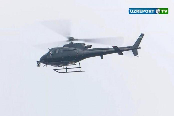 Съемка чемпионата Азии по велоспорту ведется с вертолетов