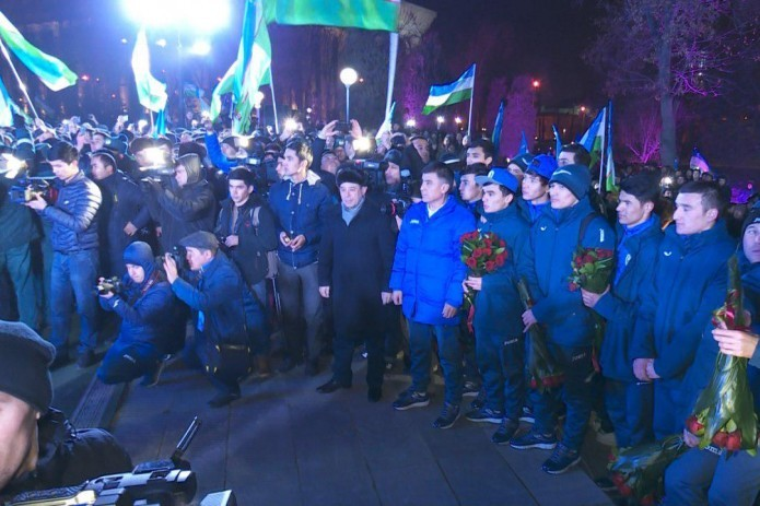 Uzbekistan greets its football team, as they returned from China as Asian champions