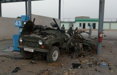 На газовой заправке в Сурхандарье взорвался автомобиль «УАЗ»