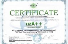 """""""Страховая компания КАФОЛАТ"""" получила наивысший рейтинг финансовой надежности"""