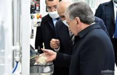 Президент ознакомился с деятельностью завода по переработке риса в Ташкентской области